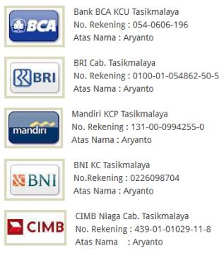 daftar rekening aryanto